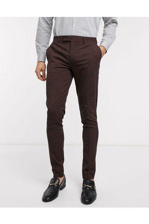 ASOS Wedding - Bordeauxfarvede og grå skinny-habitbukser i minitern