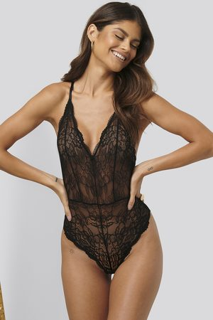 NA-KD V-neck Lace Bodysuit