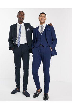 ASOS Wedding - Superskinny habitbukser i uldblanding med mikro-pepitatern
