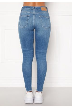 Pieces Kvinder Skinny - Delly Cropped Jeans Light blue denim XL
