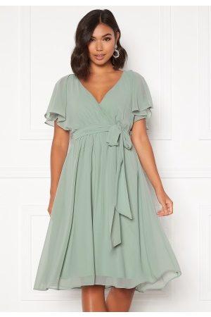Goddiva Flutter Chiffon Dress Sage Green S (UK10)