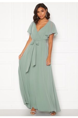 Goddiva Kvinder Maxikjoler - Flutter Chiffon Dress Sage Green S (UK10)