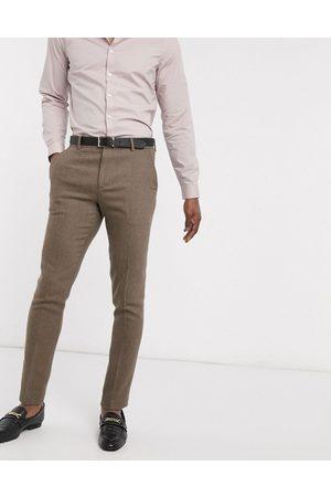 ASOS Wedding - Skinny habitbukser i uldblanding og kamelfarvet sildebensmønster-Beige
