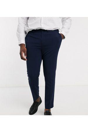 ASOS Plus - mørkeblå super skinny habitbukser med firvejsstretch-Marineblå