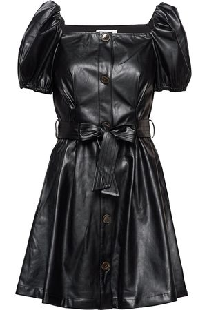 Designers Remix Kvinder Kjoler - Button Detailed Leather Free Leather Dress Kort Kjole