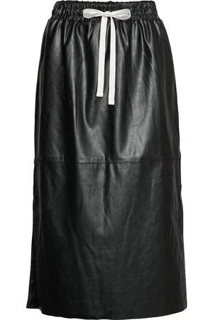 Designers Remix Kvinder Lædernederdele - Leather Free Leather Skirt With Elasticated Waist Knælang Nederdel