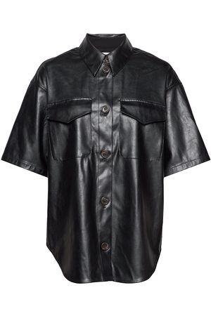 Designers Remix Kvinder Kortærmede - Short-Sleeved Leather Free Leather Shirt Kortærmet Skjorte