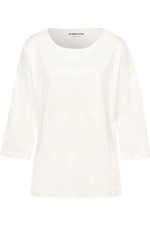 Green Cotton Bluse 3/4-ærmer i 100% bomuld Fra hvid