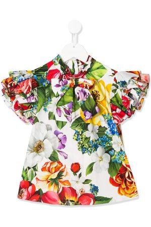 Dolce & Gabbana Blomstret bluse med sløjfe