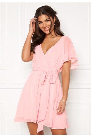 Goddiva Flutter Skater Dress Soft Pink S (UK10)