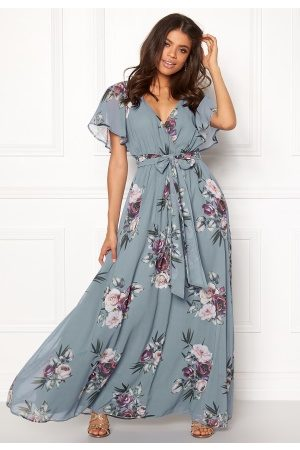 Goddiva Flutter Floral Maxi Dress Air Force Blue S (UK10)
