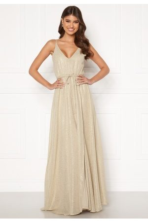 BUBBLEROOM Nionne sparkling chiffon prom dress Gold-coloured / Champagne 40