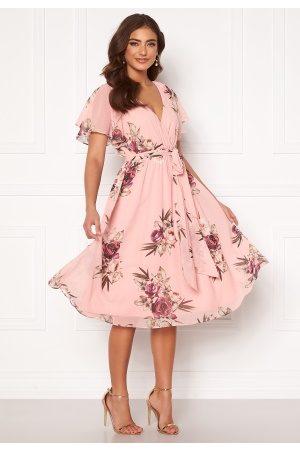 Goddiva Kvinder Midikjoler - Flutter Floral Midi Dress Peach S (UK10)