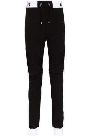 Balmain Joggingbukser i bomuld med ribpanel med logotryk