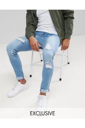 Liquor N Poker Skinny jeans i let stonewash med huller fra