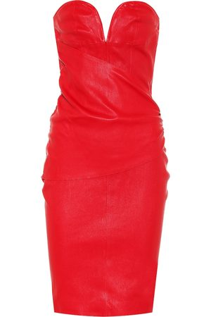 UNRAVEL Leather bustier minidress