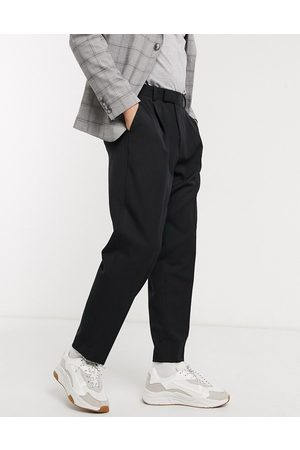 ASOS DESIGN Sorte oversized elegante bukser i tapered pasform