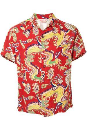 Fake Alpha Vintage Mænd Kortærmede - Kortærmet skjorte med dragetryk fra 1950'erne
