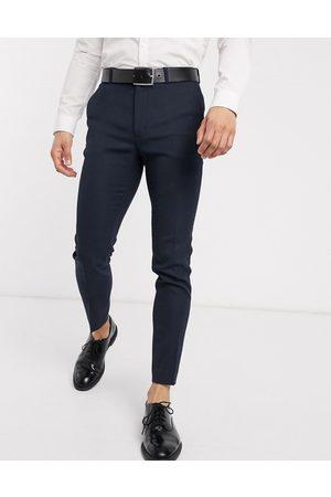 ASOS Wedding - marineblå super skinny habitbukser i uld
