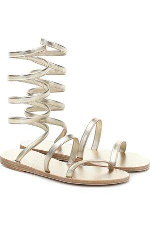 Ancient Greek Sandals Ofis metallic leather sandals