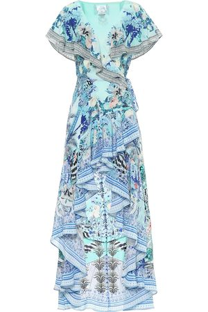 Camilla Printed silk asymmetric wrap dress