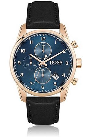 HUGO BOSS Mænd Ure - Contrast-dial chronograph watch with black leather strap