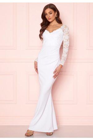 Goddiva Kvinder Maxikjoler - Long Sleeve Lace Dress White