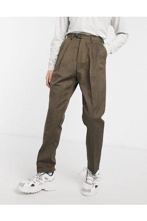 ASOS Højtaljede bukser med brune striber og vide ben
