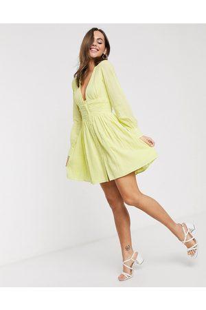 ASOS Mini-tea-kjole med knapper og rynket talje