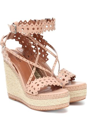 Alaïa Leather espadrille wedge sandals