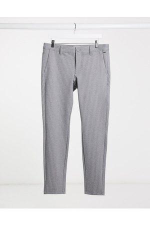 Only & Sons Elegante bukser med stretch i grå nålestriber