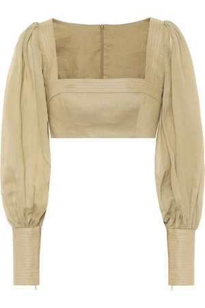 ZIMMERMANN Exclusive to Mytheresa – Cropped ramie and linen blouse