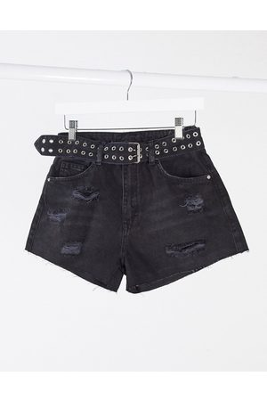 The Couture Club Sorte denimshorts med flænger og bælte