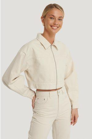 NA-KD Cropped Zipped Denim Jacket