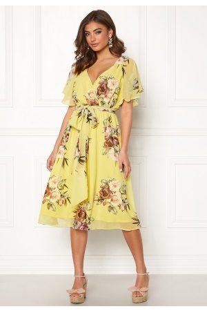 Goddiva Kvinder Midikjoler - Flutter Floral Midi Dress Soft Lemon S (UK10)