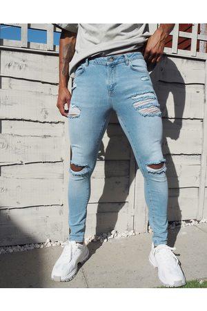 ASOS Light wash spray-on jeans i vintage look med power stretch og flænger