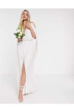 ASOS Samantha - Bryllupskjole med perler og draperede ærmer