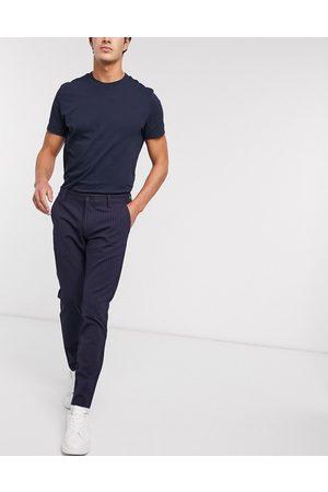 Only & Sons Smarte bukser med stræk i marineblå nålestriber