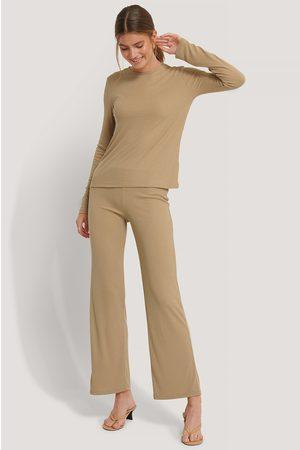 NA-KD Kvinder Kassebukser - Soft Ribbed Wide Basic Pants