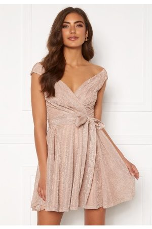 Goddiva Kvinder Casual kjoler - Lurex Skater Dress Nude XL (UK16)