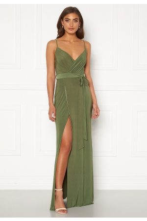 Goddiva Wrap Front Maxi Dress Olive XL (UK16)