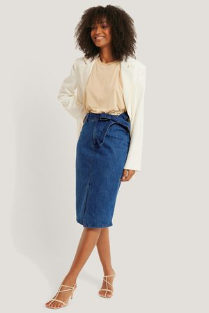NA-KD Belted Midi Denim Skirt