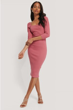 NA-KD Square Neck Puff Sleeve Rib Dress