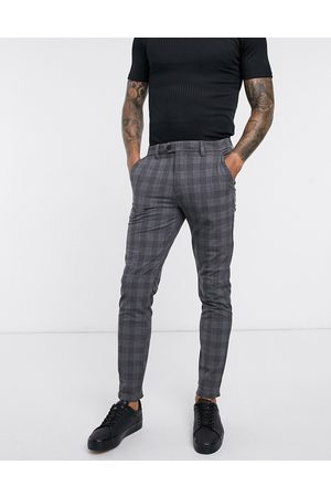 Jack & Jones Intelligence - Lysegrå elegante ternede slim fit-bukser