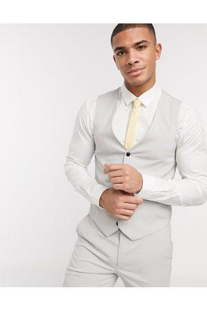 Harry Brown Ensfarvet suit habitvest i skinny fit-Grå
