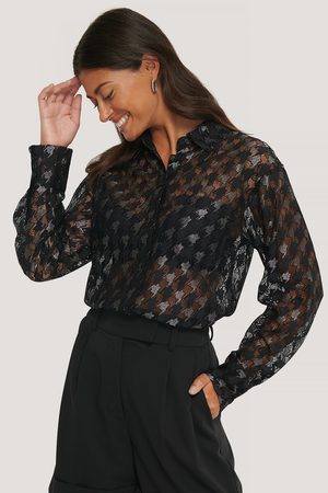 NA-KD Pepita Lace Pocket Blouse
