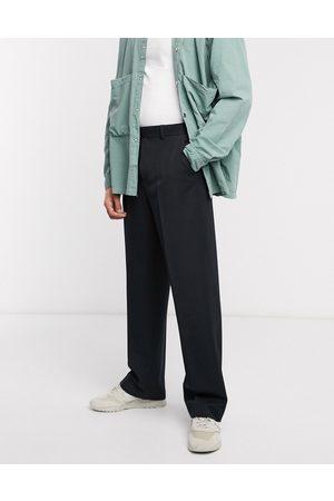 ASOS Sorte smarte bukser med vide ben fra