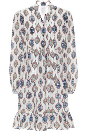 Chloé Printed habutai-silk tie-neck minidress