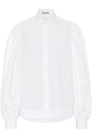 Alaïa Kvinder Langærmede - Puff-sleeve cotton-poplin shirt