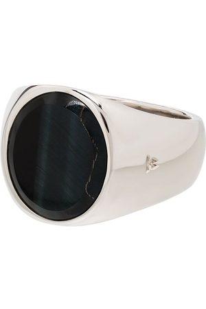 TOM WOOD Hawk eye ring i sterling sølv med oval sten